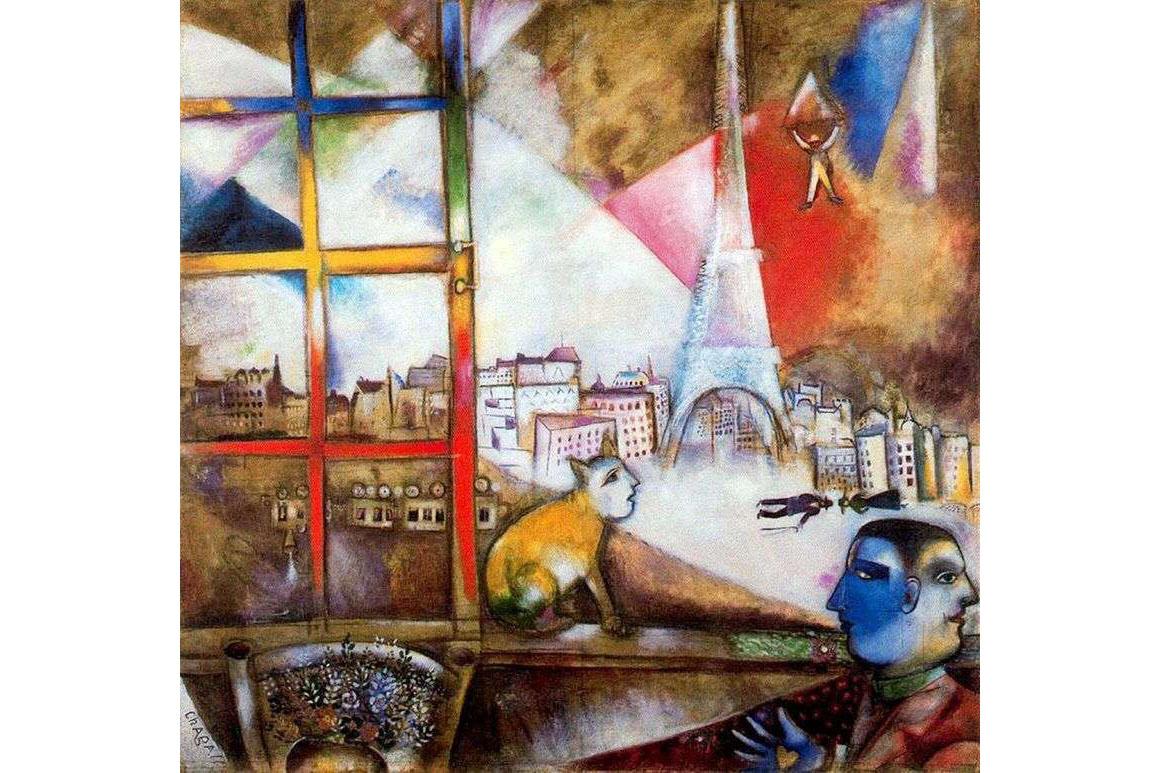 """obraz M. Chagalla """"Paryż widziany z okna"""""""